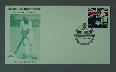 First day cover, Australian Bicentenary stamp issue - W G Grace