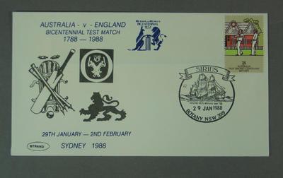 First day cover, Bicentennial Test match - Botany, 29 Jan 1988