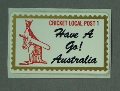 """Sticker, """"Cricket Local Post - Have a Go! Australia"""""""