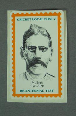 "Sticker, ""Cricket Local Post - Bicentennial Test"""