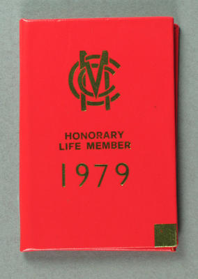 Marylebone Cricket Club Honorary Life Member card, issued to Hans Ebeling - 1979