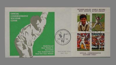 First day cover, Richard Hadlee World Record - Most Wickets in Test Cricket