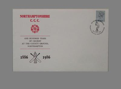 First day cover, Northamptonshire CCC county ground centenary - 1986; Documents and books; Philatelics and currency; M5612.2