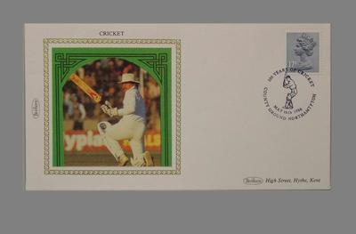 First day cover, Northamptonshire CCC county ground centenary 1986 - Allan Lamb
