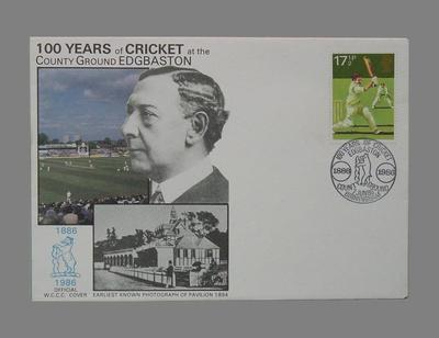 First day cover, 100 Years of Cricket at the County Ground Edgbaston - 1986; Documents and books; Philatelics and currency; M5618