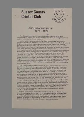 Explanatory text, Sussex County Cricket Club Ground Centenary 1872-1972
