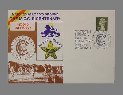 First day cover, Marylebone Cricket Club Bicentenary - England v Pakistan Test match