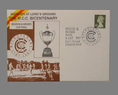 First day cover, Marylebone Cricket Club Bicentenary - Benson & Hedges Cup Final