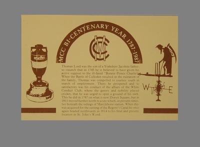 Explanatory text, Marylebone Cricket Club Bicentenary; Documents and books; M5625.4