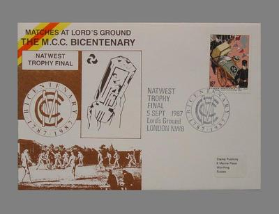 First day cover, Marylebone Cricket Club Bicentenary - Natwest Trophy Final; Documents and books; Philatelics and currency; M5625.5