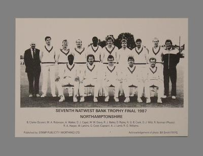 Photograph, Northamptonshire County Cricket Club - Natwest Trophy Final 1987; Documents and books; M5625.6