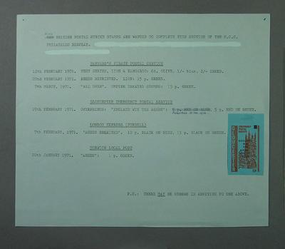 Stamp album page, 1971 British Postal Strike