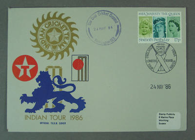 First day cover, Indian Tour 1986 - The Oval, 24 May 1986
