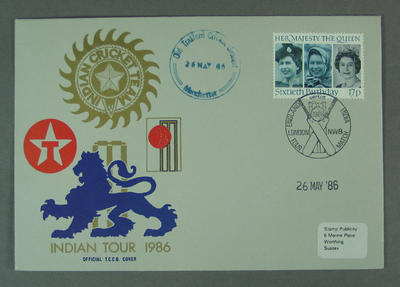 First day cover, Indian Tour 1986 - Old Trafford, 26 May 1986; Philatelics and currency; M5632.2