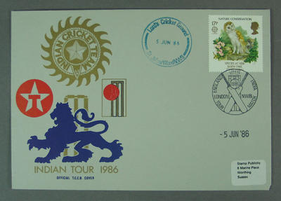 First day cover, Indian Tour 1986 - Lord's Cricket Ground, 5 Jun 1986; Philatelics and currency; M5632.3