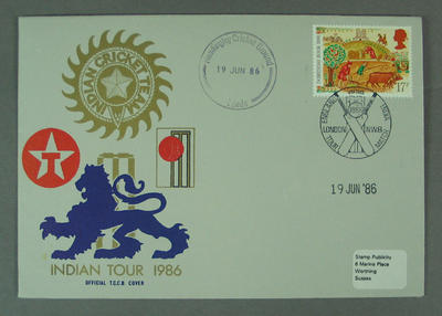 First day cover, Indian Tour 1986 - Headingley Cricket Ground, 19 Jun 1986; Philatelics and currency; M5632.4
