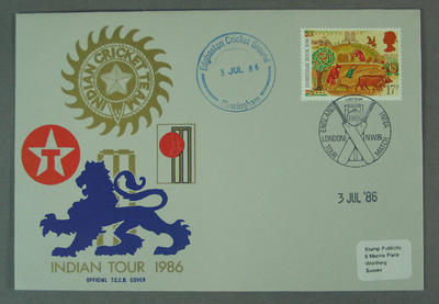 First day cover, Indian Tour 1986 - Edgbaston Cricket Ground, 3 Jul 1986; Philatelics and currency; M5632.5