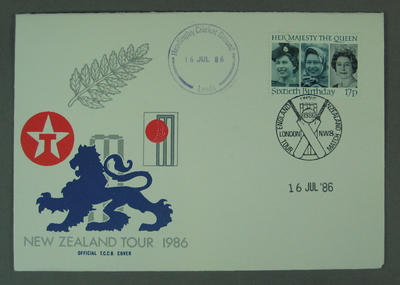 First day cover, New Zealand Tour 1986 - Headingley, 16 Jul 1986; Philatelics and currency; M5633.1