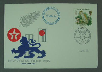 First day cover, New Zealand Tour 1986 - Old Trafford, 18 Jul 1986; Philatelics and currency; M5633.2