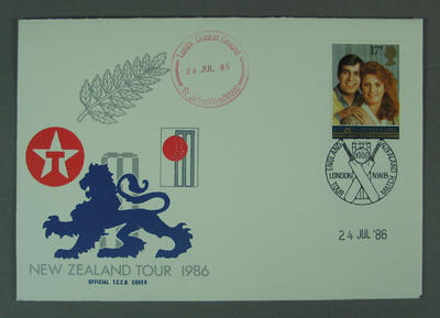 First day cover, New Zealand Tour 1986 - Lord's Cricket Ground, 24 Jul 1986; Philatelics and currency; M5633.3