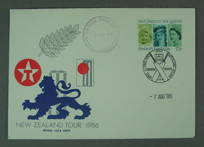 First day cover, New Zealand Tour 1986 - Trent Bridge Cricket Ground, 7 Aug 1986; Philatelics and currency; M5633.4