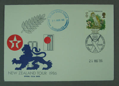 First day cover, New Zealand Tour 1986 - The Oval, 21 Aug 1986; Philatelics and currency; M5633.5