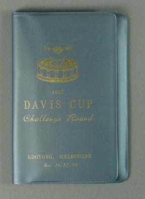 Grey souvenir wallet for 1957 Davis Cup Challenge Round