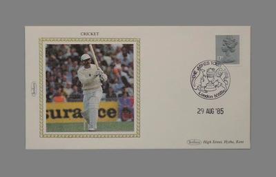 First day cover, England v Australia Test match - 29 Aug 1985; Documents and books; M5650.2
