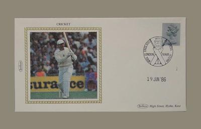 First day cover, England v India Test match - 19 Jun 1986; Documents and books; Philatelics and currency; M5651.1