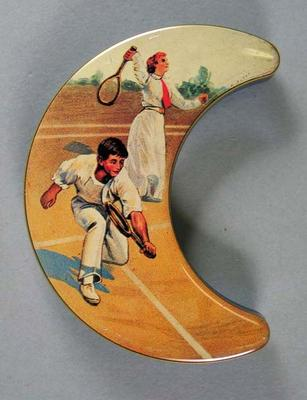 Metal peppermint box, depicts tennis players