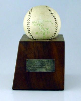Trophy presented to Les Olsson, Victorian Provincial Baseball League - 1950