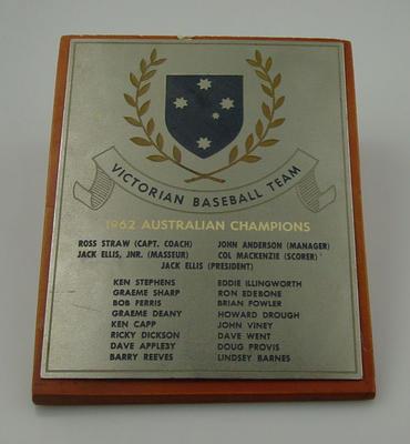 Plaque, Victorian Baseball Team - 1962 Australian Champions