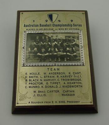 Plaque, Victorian Baseball Team - 1949 Australian Champions