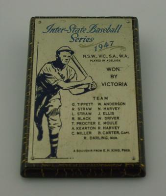 Plaque, Victorian Baseball Team - 1947 Australian Champions