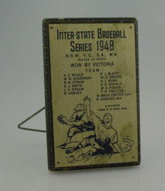 Plaque, Victorian Baseball Team - 1948 Australian Champions