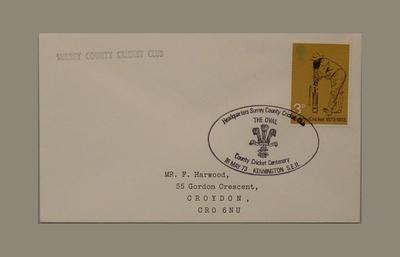 First day cover, County Cricket Centenary - 16 May 1973