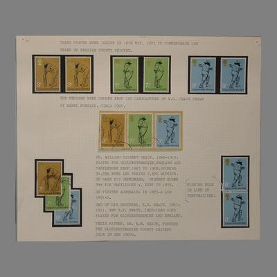 Stamp album page, County Cricket Centenary designs - 1973