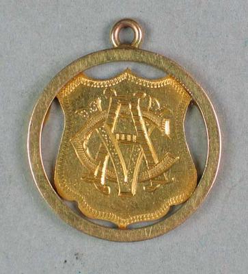 Victorian Cricket Association medallion, awarded to E K Tolhurst