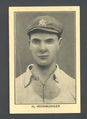 1928-29 Amalgamated Press (Triumph) Famous Australian Cricketers H Ironmonger trade card
