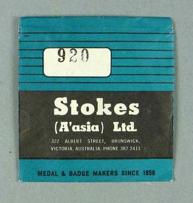Stokes Ltd envelope, used to store membership medallions c1980s