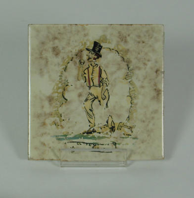 Ceramic 'Pickwick' tile, cricketer in top hat
