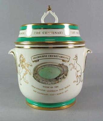 Commemorative wine cooler relating to the Centenary Test Match, 1977