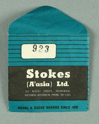 Stokes Ltd envelope, used to store membership medallions c1980s