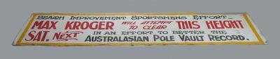 Banner advertising Max Kroger pole vault record attempt, c1927