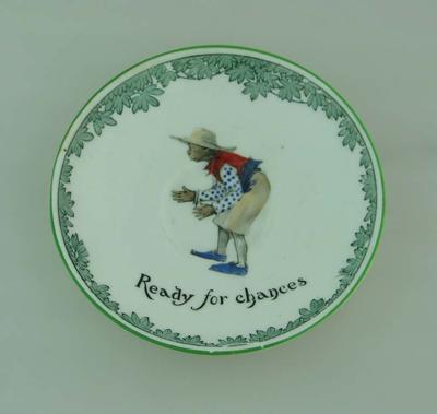 Ceramic saucer, 'Ready for chances'