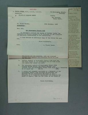 Letter regarding Gheringhap Tennis Club, 1966; Documents and books; 1989.2122.83