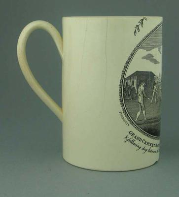 """Mug with cricket design, """"Grand Cricket Match played in Lord's Ground Mary-le-bone"""""""