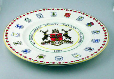 Ceramic plate, Nottinghamshire County Cricket Champions, 1987; Domestic items; M5452.3
