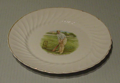 Plate, features image of Syd Barnes; Domestic items; M5465