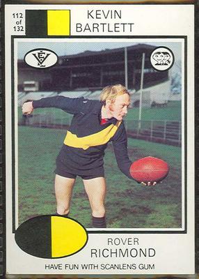 1975 Scanlens VFL Football Kevin Bartlett trade card